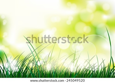 green grass with spring abstract blur background vector illustration - stock vector