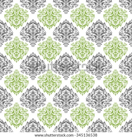 green, gray & white damask pattern, seamless texture background