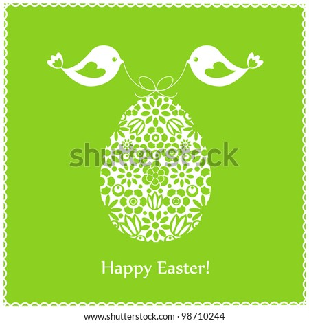 Green greeting card with birds for Easter - stock vector