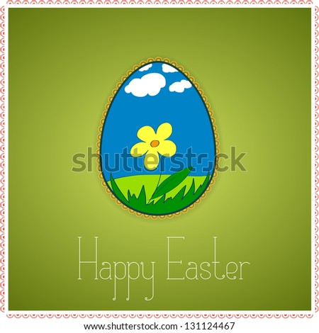 Green greetings card with decorated colorful Easter egg. Spring and summer scenery with flower, sky, grass, clouds. With text Happy Easter. Vector version