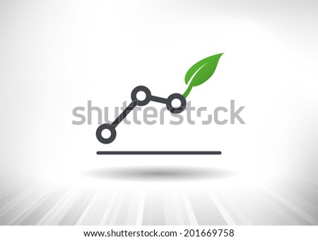 Green Growth. Rising line chart ending with green leaf. Background and chart on separate layers. - stock vector