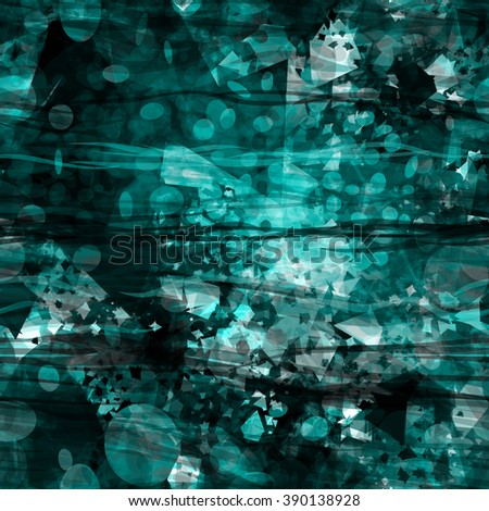 Green grunge pattern. Wavy lines, spots of triangular elements, oval patches randomly mixed. Abstract background. Vector seamless pattern. - stock vector