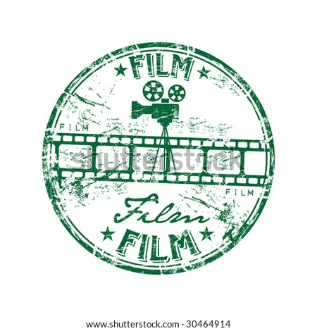 Green grunge rubber stamp with film strip, old camera shape and the word film written inside the stamp - stock vector
