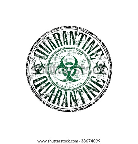 Green grunge rubber stamp with the hazard symbol and the word quarantine written inside the stamp - stock vector
