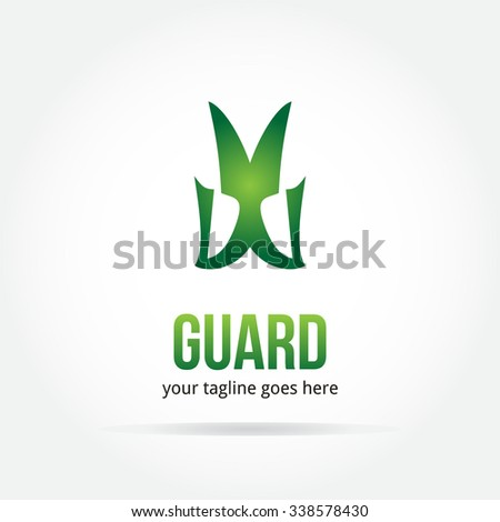 Green Guard abstract insurance protection vector logo design template paper creative office icon business company symbol concept - stock vector