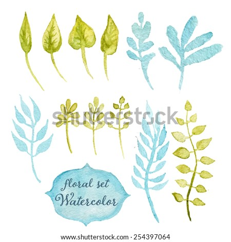 Green hand drawn floral set, drawing watercolor. Spring or summer design for invitation, wedding or greeting cards, eps10 - stock vector