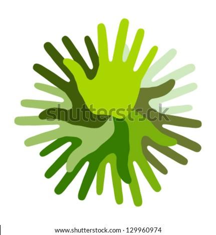 Green Hand Print icon, vector illustration - stock vector