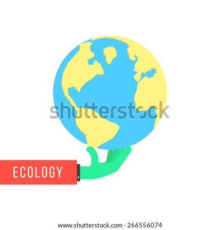 green hand with earth like environmental protection. concept of happy earth day, eco friendly, global warming, continental, humanity, travel, ecosystem. flat style modern design vector illustration - stock vector