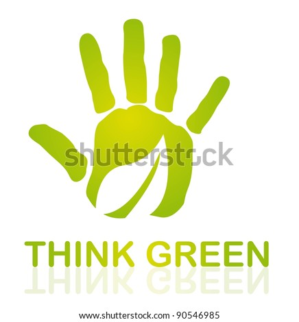 green hand with leaf over white background. vector - stock vector