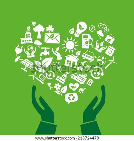 green hands eco friendly - stock vector