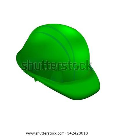 Green Hard Cap. Helmet Isolated - stock vector