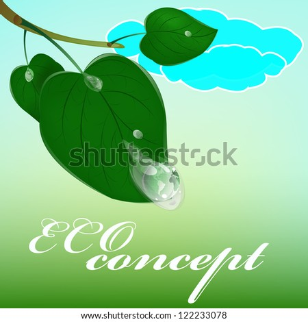 Green healthy planet and leaf with drop water.Ecology concept