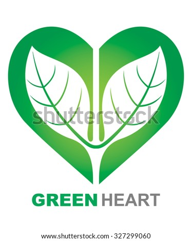 Green Heart illustration. Abstract ecological symbol. - stock vector