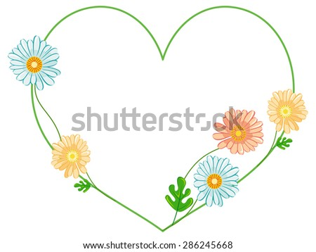 Green heart with flowers - stock vector