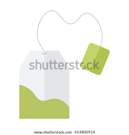 Green, herbal tea bag vector icon isolated on white background. Flat design illustration.