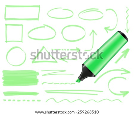 Green highlighter and set of hand drawn elements - stock vector