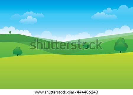 Green hill landscape.  Vector illustration of panorama view with mountain and cloud sky.