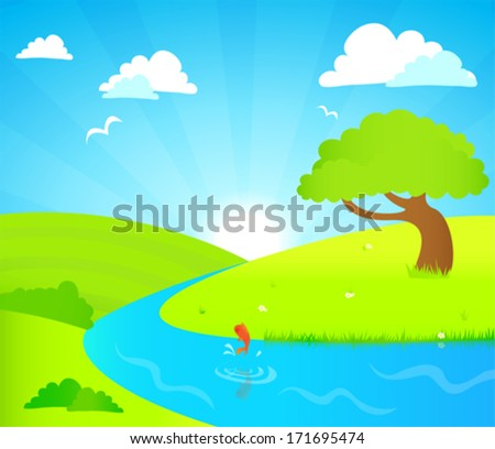 Green hills and river beneath a bright blue sky  - stock vector