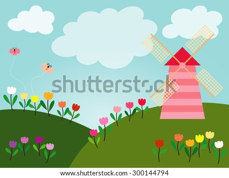 Green hills are full of many colors tulips along with wind turbine and small butterfly are flying in the sky bright full of white clouds. - stock vector