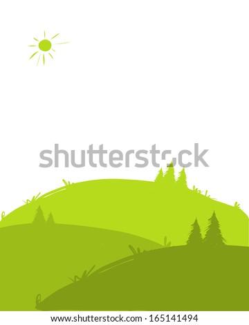 Green hills, landscape for your design - stock vector