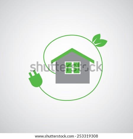 green home power efficiency vector icon   - stock vector