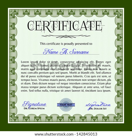 Green horizontal certificate, diploma or coupon template with very complex border design and sample text.