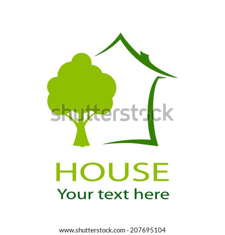 Green house and tree vector - stock vector
