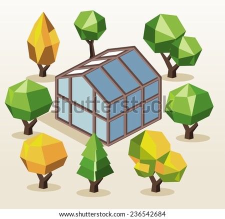 Green House and trees. isometric vector illustration - stock vector