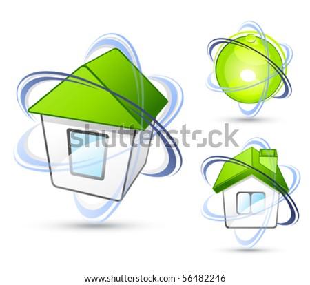 Green house. Business logo - stock vector