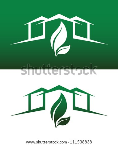 Green House Concept Icons Both Solid and Reversed for Ecology, Recycling, Company, Service or Product.