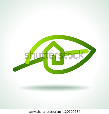 Green house concept with leaf - stock vector