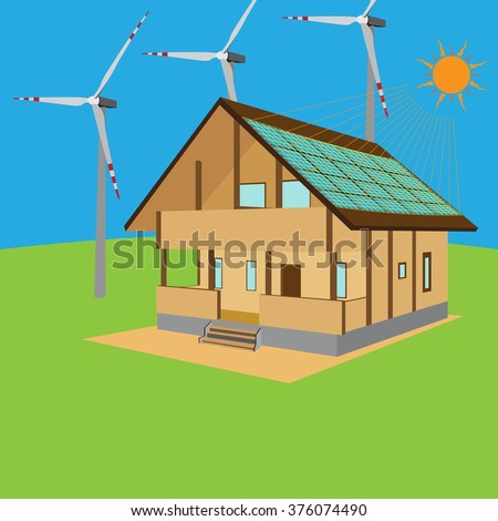 Green house, eco house, renewable energy, solar panel, wind turbines. Renewable (regenerative, green) energy concept. Vector illustration. - stock vector