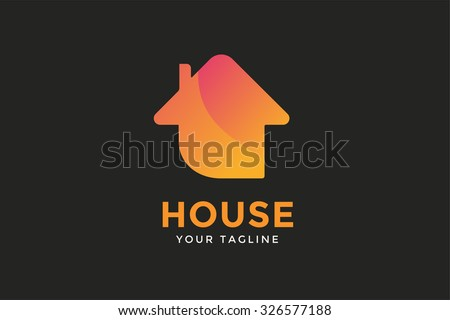 Green house home vector logo. House logo. Nature house logo. Home house roof and mortgage, banking, loan house, royalty. Realty logo, mortgage. Real estate. Lawyer office. Development logo. Bank house - stock vector