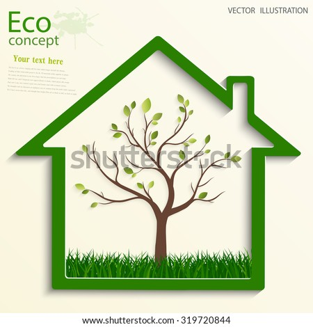 Green house, inside of which the tree and the grass. Environmentally friendly world. Vector illustration of ecology the concept of info graphics. - stock vector