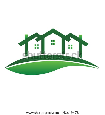 Green house leaf design vector illustration - stock vector