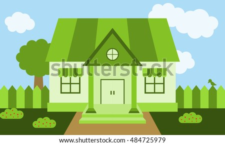 Green House Look Form Outside Exterior Design Illustration