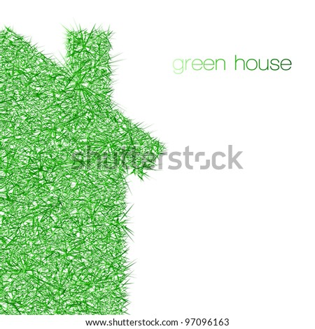 green house on white background - stock vector