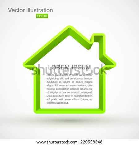 Green house outline. - stock vector