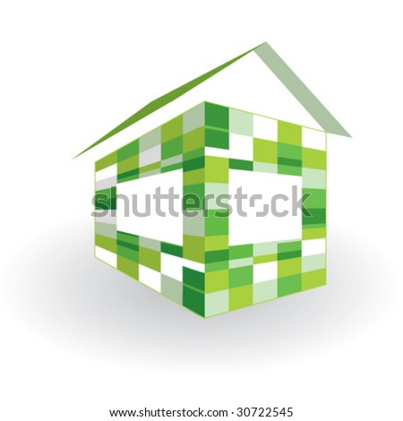 Green house. Symbol of sustainable living and energy efficiency. - stock vector
