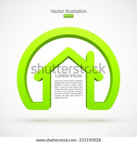 Green house symbol with circle. - stock vector