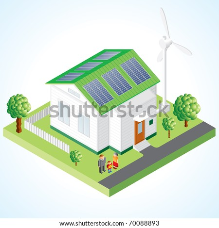 Green House vector concept - Isometric composition of small house with ecological equipment - solar cells and wind turbine - stock vector
