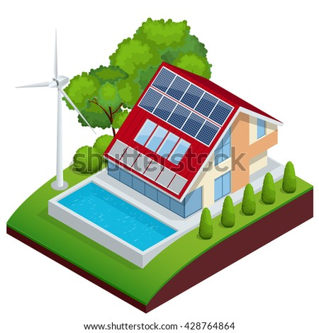 Green House vector concept. Isometric vector composition of small house with ecological equipment solar cells and wind turbine. - stock vector