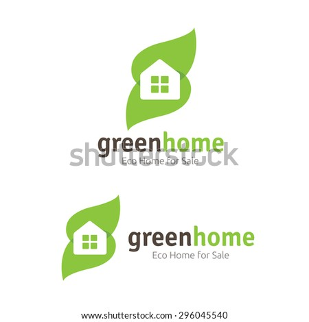 Green House Vector Logo Template - stock vector