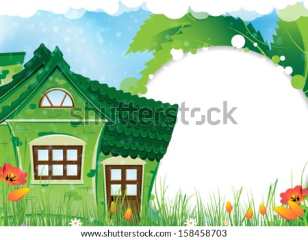 Green house with a tiled roof on a sunny meadow. Rural landscape