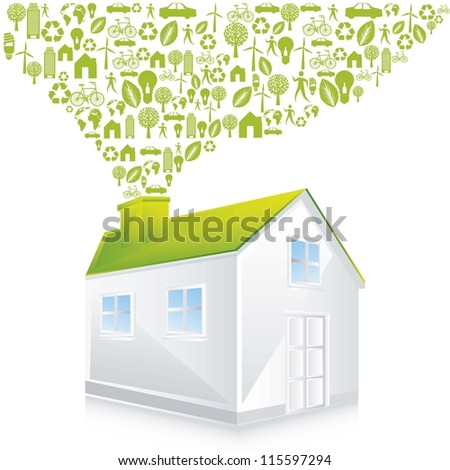 green house with icons over white background. vector illustration - stock vector