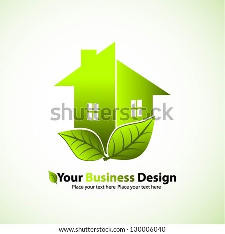 Green house with leaf vector design - stock vector