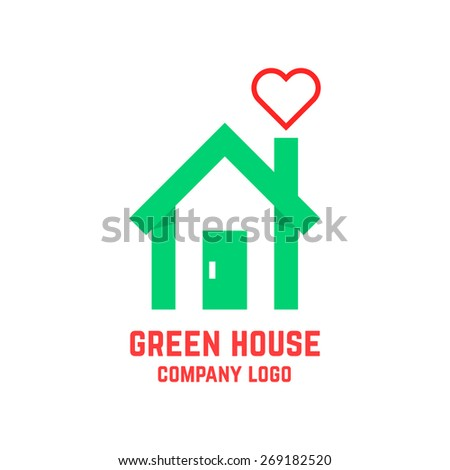 green house with line heart instead of smoke. concept of countryside, insurance, greenhouse, environment, mortgage. isolated on white background. flat style modern branding design vector illustration - stock vector