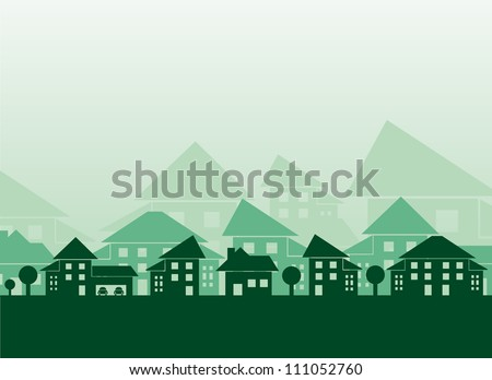 Green houses different forms background - stock vector
