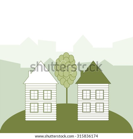 Green Houses, Think Green Concept - stock vector