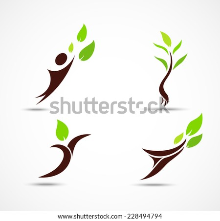 Green human ecology icons - stock vector